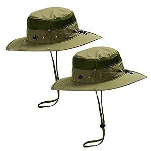 The Friendly Swede 2 Stück Outdoor Buschhüte mit Kinnband - Ideal auch als Safarihut, Sonnenhut, Gartenhut, Campinghut für Damen, Herren, Kinder (Grün)