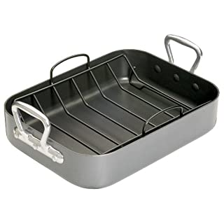 KitchenCraft MasterClass Teflon Non Stick Roasting Tin with Rack, 40 cm x 28 cm