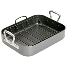 MasterClass Teflon Non Stick Roasting Tin with Rack, Carbon Steel, Grey, 36 x 27 x 7.5 cm