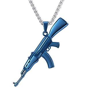 U7 Blue Plated, AK-47 Gun Pendant & Resizable Wheat Chain(20