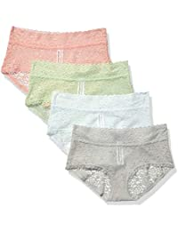 Amazon Essentials 4-Pack Lace Stretch Hipster Panty Mujer