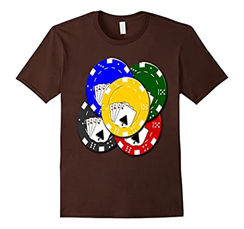 Texas Hold Em Omaha Casino Cards Poker Game Chips T-Shirt Herren, Größe M Braun
