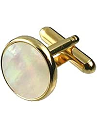 Cuff Links Gold-tone Round Pearl Cufflinks~Mother Of Pearl Cufflinks + Select Gift Pouch