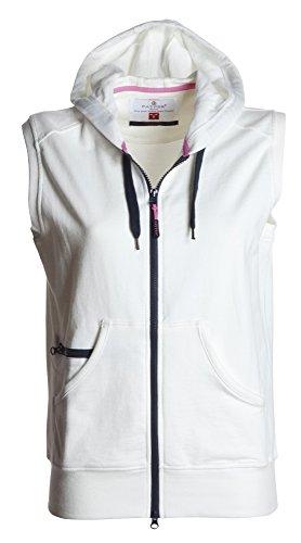 PAYPER Damen Sweatweste mit Reißverschluss und Kapuze, Farbe:White;Größe:L