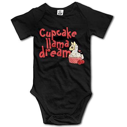 TKMSH Cupcake Llama Dream Newborn Short Sleeve Jumpsuit Outfits Black