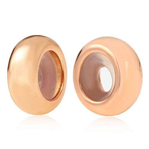 Ciondoli separatori circolari in argento sterling 925 da 3 mm,con anello in gomma, per braccialetti e collane; in confezione da 2 e argento, colore: rose gold, cod. sk-01