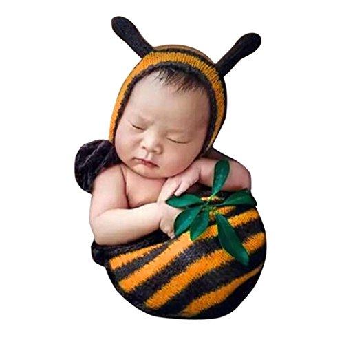 Familizo-bambino Fami-L'attrezzatura della foto della foto del costume del crochet dei vestiti del crochet del neonato appena nato attrezzatura (Giallo)