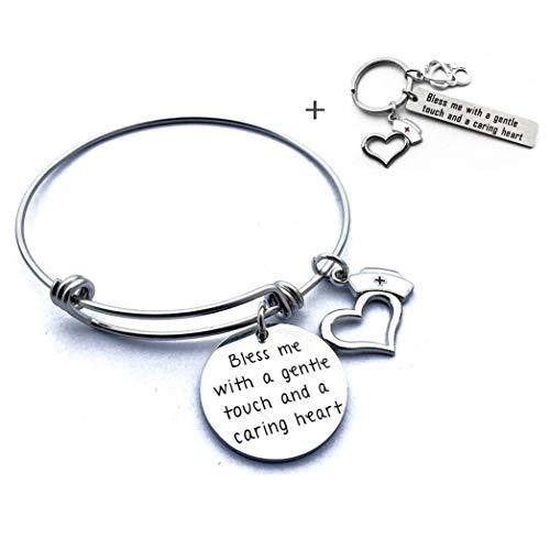 YHgiway Nurse Practitioner Gifts Krankenschwester Schmuck Nurse Armreif Armband Schlüsselanhänger - Bless Me with a Gentle Touch and a Caring Heart (Männliche Rn Geschenke)
