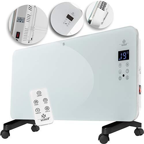 Kesser® Elektro Glasheizung Glaskonvektor Elektroheizung Heizung Heizkörper ✓ Touchscreen ✓ LCD-Display ✓ Timer ✓ Fernbedienung | Stand- oder Wandgerät | 2000 Watt | Farbe: Weiß