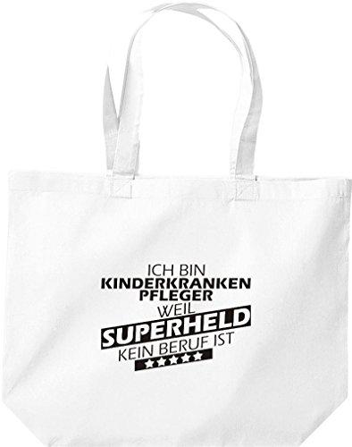 Shirtstown große Einkaufstasche, Ich bin Kinderkrankenpfleger, weil Superheld kein Beruf ist, weiss
