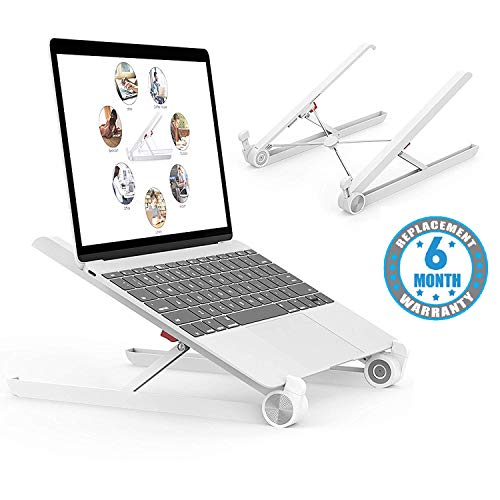 Voroly Foldable Height Adjustable Laptop Stand Eye-Level Ergonomic Laptop Riser for Notebook Thinkpad MacBook Pro/air (White)
