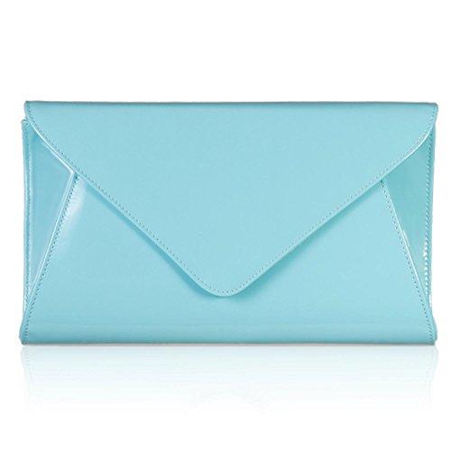 Zarla, pochette piatta da donna brevettata, per feste nuziali e serate Blu (Mint Blue)