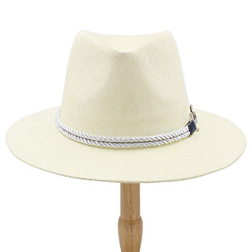 Damen Hüte, Herren Fedoras Hat, Fashion Jazz Cap New Adult Bucket Hat Sun Cap for Women Teenager Summer Panama Hat Lady, Stroh, beige, 55-58 cm Womens Fedora