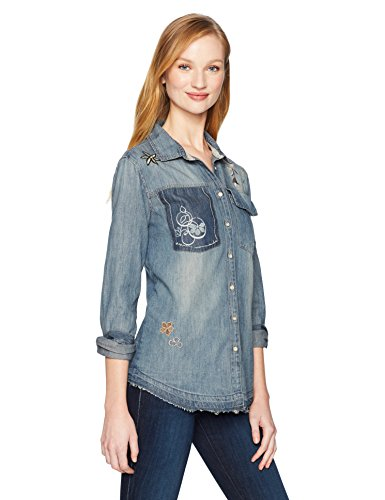 Vintage America Blues Damen Hayden Embroidered Denim Shirt Button Down Hemd, Denver Wash, X-Groß - Button-down-vintage-sport-shirt