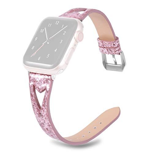 Armband Für Apple Watch 44 Mm, Webla Leder Uhrenarmband Bling Glitter Hollow Hollow Einstellbare Band Uhr Ersatzband Uhrenarmband Mit Metallschnalle Für Apple Iwatch 44 Mm - Bling Uhr Techno
