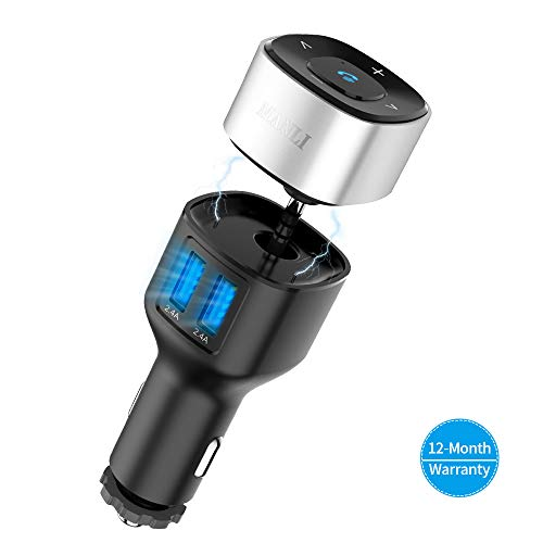 MANLI Bluetooth 4.2 Empfänger und Auto Ladegerät Combo Kit, mit Stereo 3.5 mm Aux, 2-Port USB (5V 4.8A) und Freisprecheinrichtung, Bluetooth Adapter MP3 Player Radio Adapter
