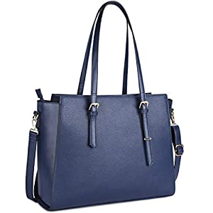 Handtasche Damen Shopper Damen Große Beige Gross Laptop Tasche 15.6 Zoll Elegant Leder Umhängetasche für Büro Arbeit…