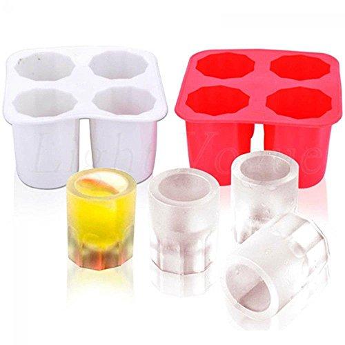 YuamMei 1pc Glas Eiswürfel Schuss Form, 4 Tassen Silikon Gelee Tablett, Schokolade Werkzeug für Sommer Party Home Küche Event (Schwarz) -