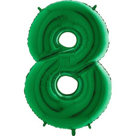 Trendario Folienballon Zahl 8 (Grün) - XXL Riesenzahl 100cm Ballon - Helium Luftballons für Geburtstag, Partydeko, Hochzeit (Zahl 0, Silber)