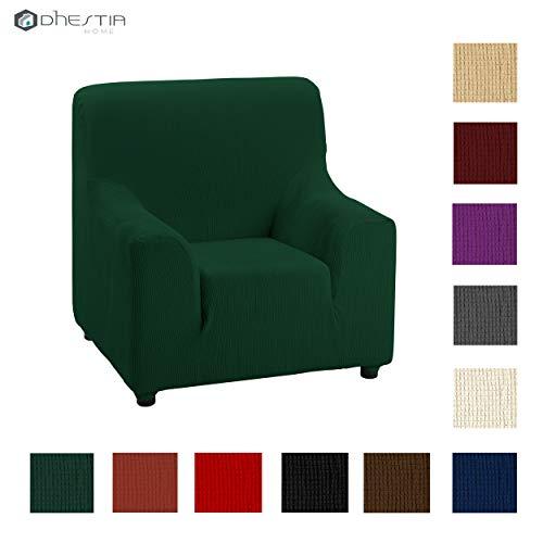 Dhestia - fodera elastica e adattabile con elastomero, misure divano, poltrona 1 posto, 70/90 cm, verde bottiglia, 70/90 cm