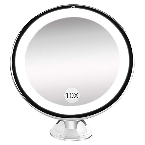 Bestope Miroir Maquillage grossissant 10x Lumineux,16 LED, 360°Rotation Ajustable,fonctionnant sur Piles,Miroir de Salle de Bain...