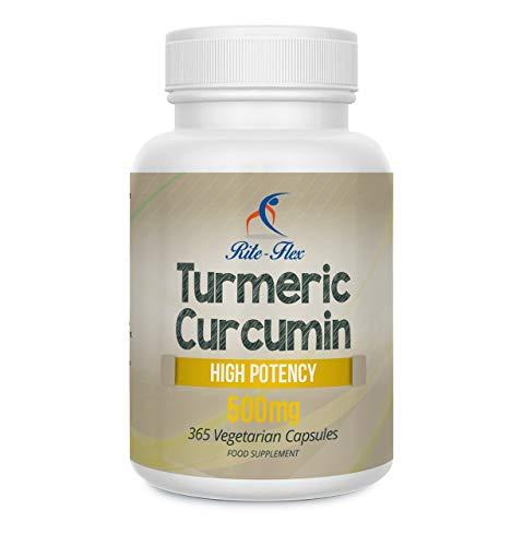 OFFERTA SPECIALE Curcuma Curcumina 500mg 365 Vegetariani Vegan Capsule Alta Potenza di Rite Flex