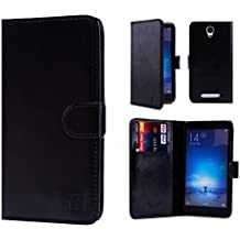 32nd Funda de cuero sintético tipo billetera para Xiaomi Redmi Note 2, incluye protector de pantalla y lapiz optico- Negro