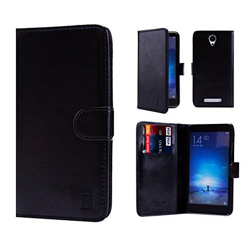 32nd Etui Coque en Cuir PU Portefeuille per Xiaomi Redmi Note 2 Housse avec fentes CB et Clapet Fermeture Magnétique - Noir