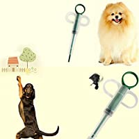 biyi5255 Inizio pillole Dispenser Feeding Medicina Gatto di cani animali domestici Tablet Medicina Feeder(Color:White&Green)