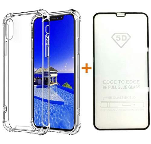 Hülle +5D Gehärteter Glas Film Silikon Handyhülle TPU Transparent 360 Grad Schutzhülle Weich Flexibel Anti-Kratzer Durchsichtige Abdeckung Case Cover ()