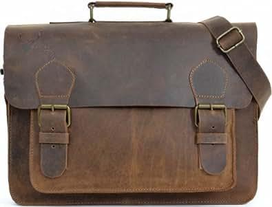 "Gusti Cuir studio ""Floyd"" sac notebook sac ordinateur portable Macbook-Air 15,4"" sac à bandoulière sac avec anse en cuir sac à dos en cuir vintage élégant bureau travail unisexe marron 2M1b"