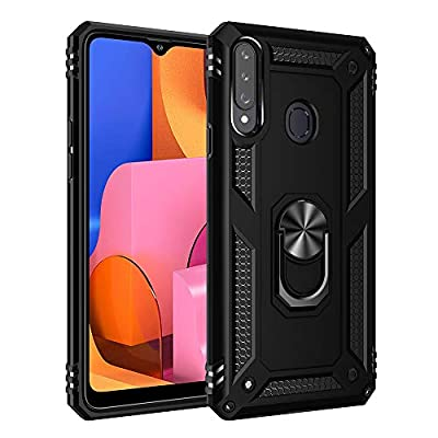 Compatible with Samsung Galaxy A20S Case Hybrid Hard shell TPU silicone Rugged Stand Ring Cover With Support Magnetic Car Mount Case Protective Hard Shockproof Bumper blue