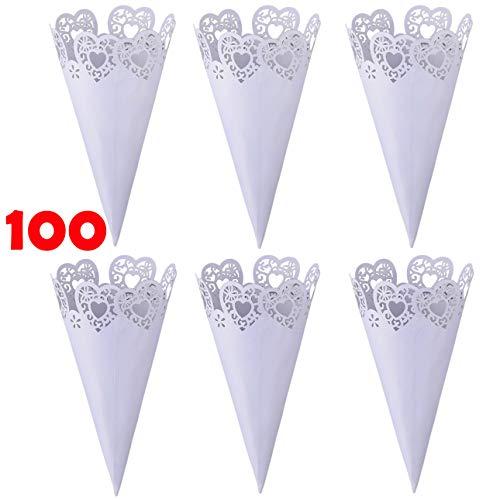 Tomkity 100 Pezzi Coni Portariso Riso Petali Festa Matrimonio Portaconfetti Portariso Perlato