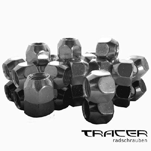 Tracer 4019484845140 Radmuttern offen 20 Stücke, Silber