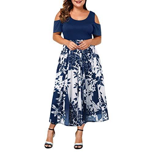 Yvelands Damen Kleid Elegant Lässig Plus Size O-Ausschnitt Einfarbig Schulterfrei Kurzarm Kleid(Navy2,XXXXXL)