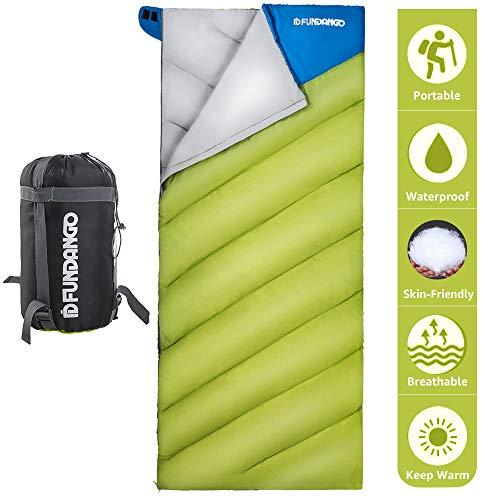 Fundango Leichter Schlafsack für Erwachsene Camping Warmes Wetter Schlafsack (55.4F / 13C) Umschlag Rechteckiger Campingbeutel Wasserdicht für Wandern, Backpacking, Reisen mit Kompressionsbeutel