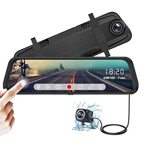 YDI Spiegel Dashcam 10 Zoll Touchscreen Auto Kamera, Full HD 1080P Weitwinkel Frontkamera und Wasserdichte 720P Rückfahrkamera mit Sternenlicht Nachtsicht