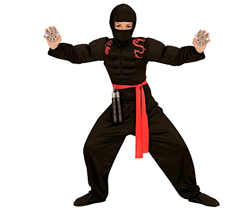 Widmann 00526 - Kinderkostüm muskulöser Ninja, Muskelshirt, Sturmhaube, Hose und Gürtel, schwarz