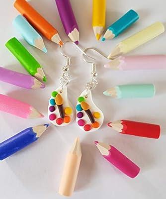 boucles d'oreilles palette de peinture multicolore cadeau anniversaire