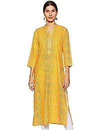 Varanga Yellow leheriya printed straight kurta