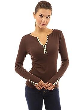 PattyBoutik Mujer botones de cuello muesca superior del ajuste de la blusa