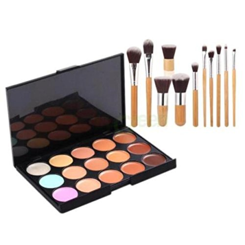 Internet 15 couleurs Palette Contour Visage Concealer Camouflage Cream 11PC Bamboo Brush Set