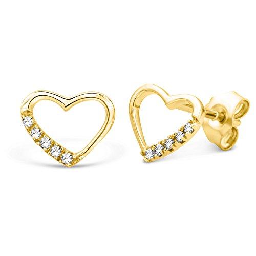 Miore Ohrringe Damen Herz Gelbgold 9 Karat / 375 Gold Ohrstecker  Diamant Brillianten 0.07 ct