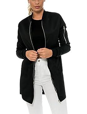 Mujeres Chaqueta Bomber Zip Larga Acolchada Clásica Bomber Jacket Punk Larga Capa