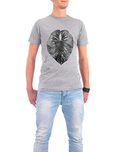 "Design T-Shirt Männer Continental Cotton ""Jungle Leaf"" - stylisches Shirt Floral Natur von Linsay Macdonald Grau"