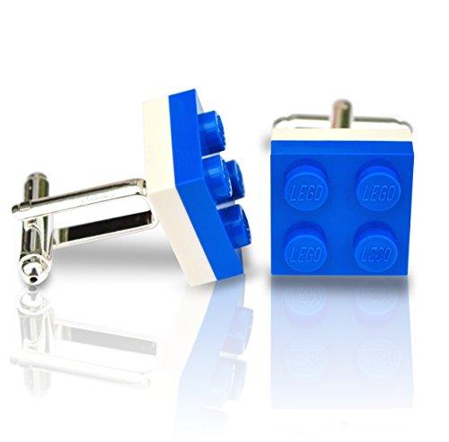 SJP Cufflinks LEGO® Gemelos plato azul blanco boda