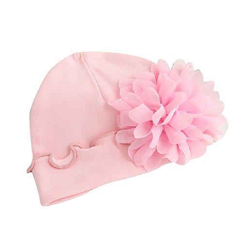 Kingko® Kids Baby Neugeborene Baby Niedliche Wintermütze Strickwolle Hemming Hut mit Pelzball Baby Hüte mit hübschen Strick Doppelball Rosa Wollmütze (Rosa)