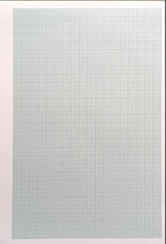 Millimeter Zeichenpapier, A4, 50 Blatt, 80 g/qm, kurz, geklebt (2 x 50 Blatt)