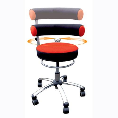 Roter Stoff Stuhl-spiel (Sanus Gesundheitsstuhl mit höhenverstellbarer Lehne, Sitzhöhe hoch (46 - 54 cm), rot/schwarz)