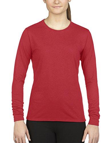 GILDAN Damen Langarmshirt Performance LS 42400L, Einfarbig Rot (Red 40)